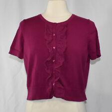 Bass Heritage Collection Short Sleeve Cardigan Shrug LARGE Pink Fuchsia