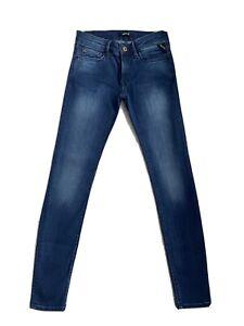 Ladies Women's Replay WX689 LUZ Stretch Skinny Blue Jeans W26 L30 (D16)
