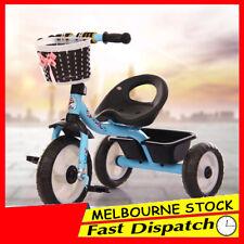 Blue 3 Wheel Bike Bicycle Tricycle Trike Basket Kid Children Toddler Outdoor Toy