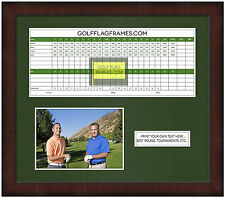13x15 Brown Golf Scorecard Photo Frame Brn-002 Green Mat Fits Appr 5x12 Card