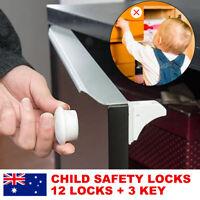 12 Locks 3 Keys Magnetic Baby Child Infant Safety Cupboard Drawer Cabinet Door