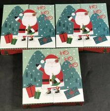 """Small Gift Boxes Red White Green New Christmas Santa Claus 5 PC Set 5.75""""x5.75"""""""