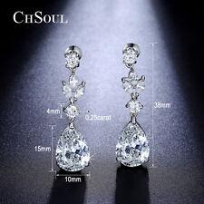Stunning Lady Teardrop CZ Drop Dangle Earrings Gold GP Sparkling Bridal Jewelry