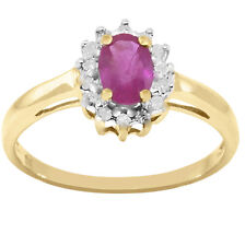 Ruby 14 Diamond 9 Ct 9 K Solid Yellow Gold Engagement Ring 30 Day Returns
