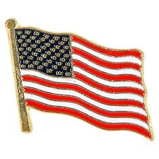 10 American Waving Flag Label Pins - MADE IN USA - High Quality US Patriotic Set