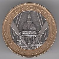 United Kingdom £2 Pounds 2005 Copper-Nickel Brass Coin - St Pauls Cathedral