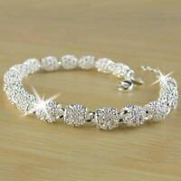 Women's 925 Silver Charm Chain Bracelet Wedding Fashion Elegant Jewelry Gifts