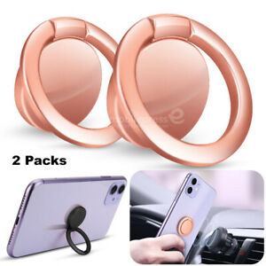 2-Pack Finger Ring Cell Phone Holder Stand Car Metal Rotating Magnetic Grip 360