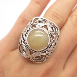 Vintage Poland 800 Silver Agate Gem Modernist Swirl Ring Size 6 / SIGNED