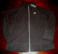 Womens Tommy Hilfiger Full Zip Black Fleece Coat Jacket Size Large L NEW NWT