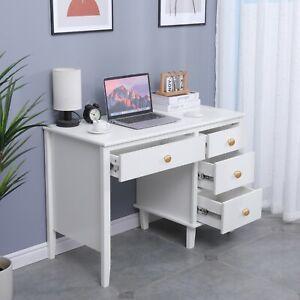 4 Drawer With Slide Vanity Makeup Table Computer Desk Study Desk White
