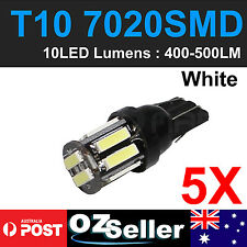 5 X WHITE T10 7020 SMD 10 LED W5W Wedge Tail Side Car Lights Parker Bulbs 12V OZ