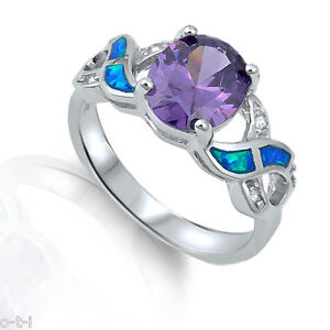 Large Amethyst Oval with Clear CZ and Blue Fire Opal Infinity Silver Ring