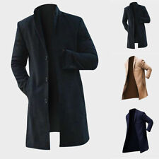 Vintage Men's Trench Coat Winter Warm Long Jacket Single Breasted Overcoat Pop