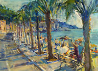 Huge Oil painting stunning impressionism seascape by Seaside & people on canvas
