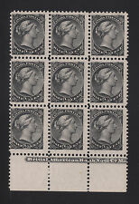 Canada Sc 34, SG 53 MNH. 1868-71 ½c black QV, perf 12, sheet margin block of 9