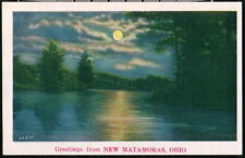 NEW MATAMORAS OH OHIO Vintage Greeting Postcard Moonlight Night Lake View PC