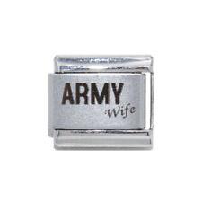 Army Wife laser Italian Charm - fits 9mm classic Italian Charm bracelets