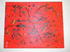 red pop abstract art oil on canvas painting original signed 16 by 20 inch modern