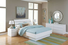 4 Piece White Full Size Platform Bed Bedroom Furniture Collection Dresser Set