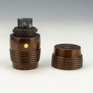 Antique Turned Dark Wood Barrel Formed - Pocket Travel Inkwell Ink Bottle