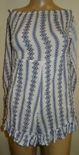 Women's Missguided White Printed Knot Front Bandeau Play suit UK Size 8 VR70 09