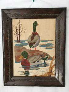 Vtg Rope Embed Solid Wood Frame Waterfowl Mallard Duck Wall Hang Needlepoint Art