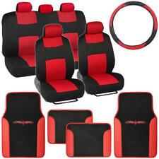 Red / Black Car Interior Split Bench Seat Covers 2 Tone Floor Mats - 14 Pc Set