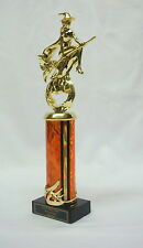 "HALLOWEEN TROPHY, COSTUME PARTY AWARD   WITCH /BROOM 5""ORCW FREE LETTERING"