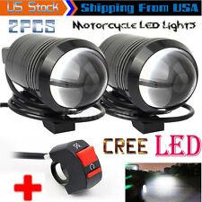 2PCS CREE U1 Lens LED Motorcycle Headlight Driving Fog Light Spot Lamp + Switch