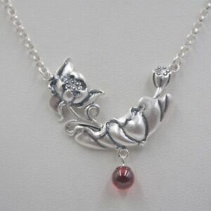 Sterling S925 Silver Women Luck Garnet Ball Lotus Flower & Cable Chain Necklace