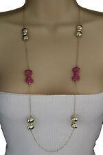 Women Long Necklace Gold Metal Chains Pink Bows Ribbon Pendant Fashion Jewelry