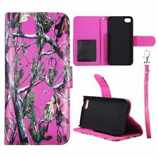 For Iphone 5C Wallet Camo Pink Pine Cover Split Leather Case Uni