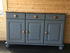 Vintage Pine Sideboard, Hand Painted With Blue Stone Chalk Paint.