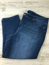 "TERRA & SKY Womens Plus Size 20W Denim Blue Jeans Capris Stonewashed 26"" Inseam"