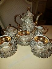 Bavaria Mittertech Gold chintz Tea Set Tea Cups Saucers(6) Creamer/Sugar Tea Pot