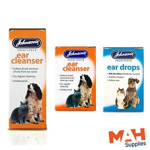 Johnson's Antibacterial Ear Drops Ear Cleanser Dogs Cats Kills Mites Softens Wax