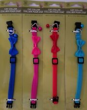 Cat Collars Spandex Quick-Release Buckle Adjustable Bell & Bow S20, Select Color
