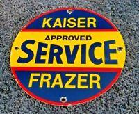 VINTAGE AMERICAN AUTO PORCELAIN KAISER FRAZER GAS SERVICE STATION SIGN