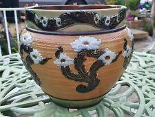More details for antique vintage doulton lambeth floral jardiniere initialed vgc