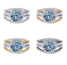 18k Gold Plated Brilliant Aquamarine Wedding Engagement Silver Ring Set 2.35 Ct