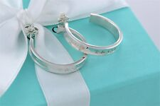 """Tiffany & Co. Sterling Silver 1837 Large 1"""" Hoop Earrings w/ Box & Pouch"""