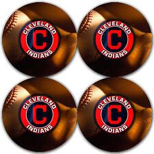 Cleveland Indians Baseball Rubber Round Coaster set (4 pack) / Rndrbrcstr2007