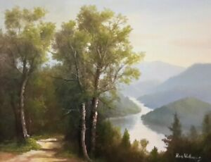 "Ron Williams Knoxville Artist Original Oil Landscape ""Pathway at Fontana Lake"""