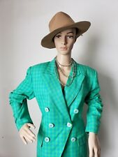 ChristIan Dior Suit  Blue Green Gingham Pencil Skirt 90's Blazer  Size 10 RETRO