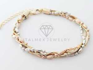 18K Gold Plated Luxury 3 Gold Bracelet|Pulsera Fina Hermosa de Oro Laminado 18K