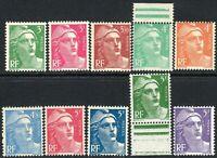 France 1947 Marianne part set unmounted mint SG998----1004b  (10)