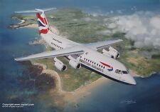 BRITISH AIRWAYS BAE 146 RJ100 OVER  JERSEY ART PRINT