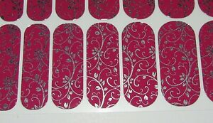 Jamberry Nail Wraps Silver Floral Magenta New Full Sheet USA Made Pink