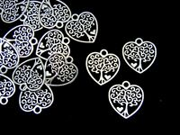 20 Pcs Tibetan Silver Tree of Life Heart Charms Pendant Nature Pagan Wiccan Q15